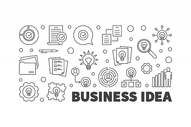 Geschäftsidee symbole festgelegt Premium Vektoren