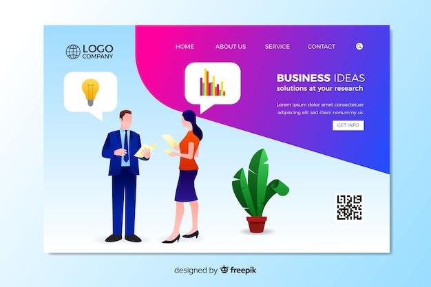 Geschäftsideen landing page vorlage Kostenlosen Vektoren
