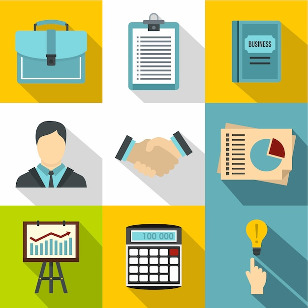 Geschäftsikonensatz, flache art Premium Vektoren