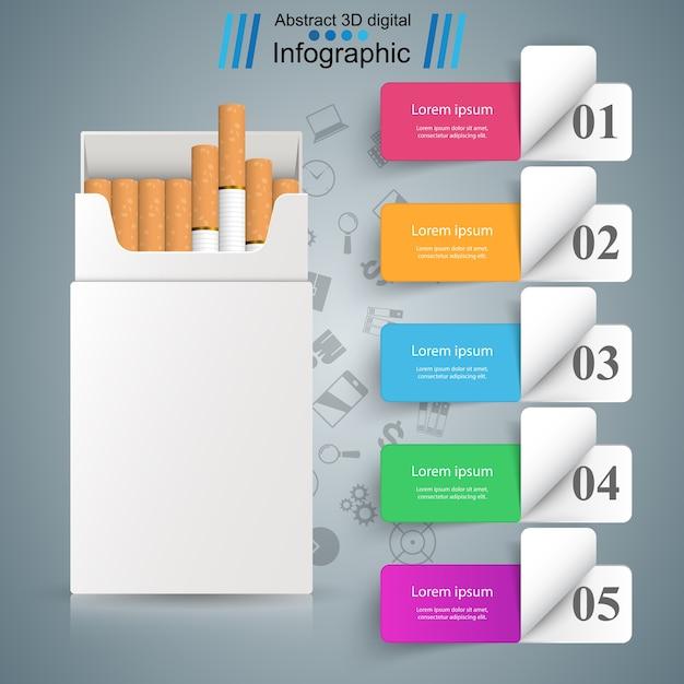 Geschäftsillustration einer zigarette und des schadens. Premium Vektoren