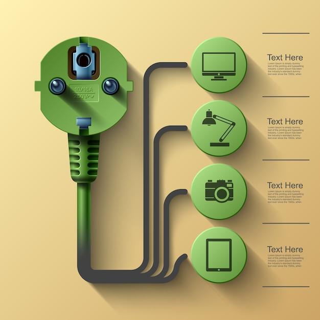 Geschäftsinfo-grafiken, elektrischer stecker, quadrat mit informationssektoren unter, illustration Premium Vektoren