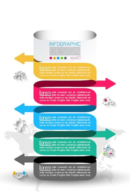 Geschäftsinfografik mit 5 schritten. Premium Vektoren