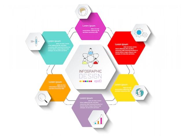 Geschäftsinfografik mit 6 schritten. Premium Vektoren