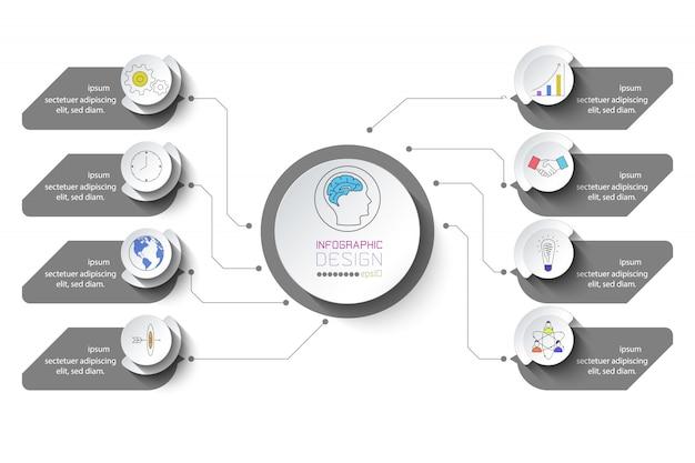 Geschäftsinfografik mit 8 schritten. Premium Vektoren