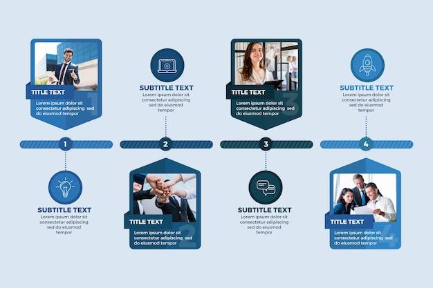 Geschäftsinfografik mit fotovorlage Kostenlosen Vektoren