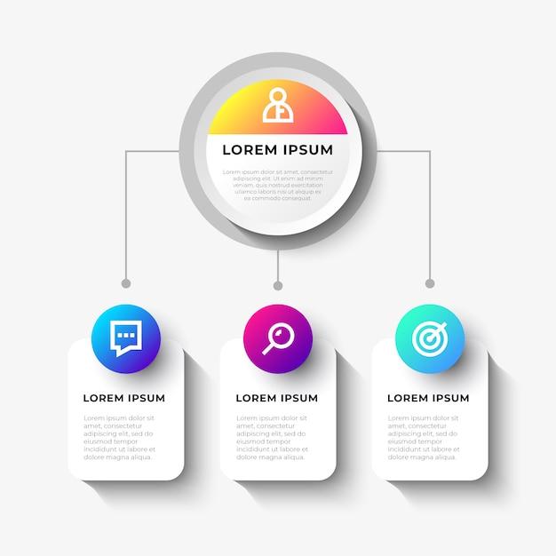 Geschäftsinfografik mit organigramm Kostenlosen Vektoren