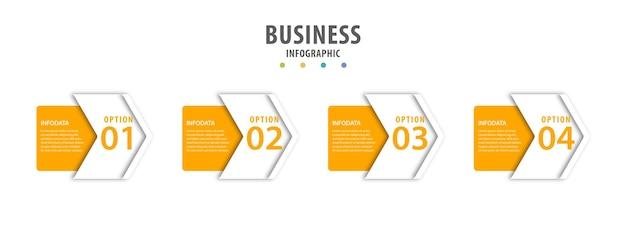 Geschäftsinfografik mit schritten Premium Vektoren
