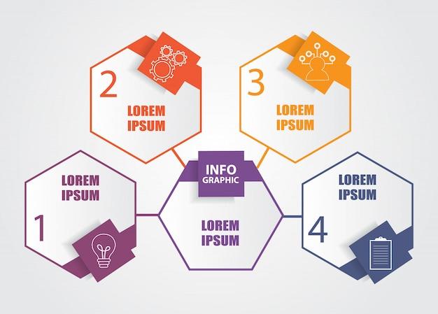 Geschäftsinfografik-vorlage mit 4 schritten Premium Vektoren