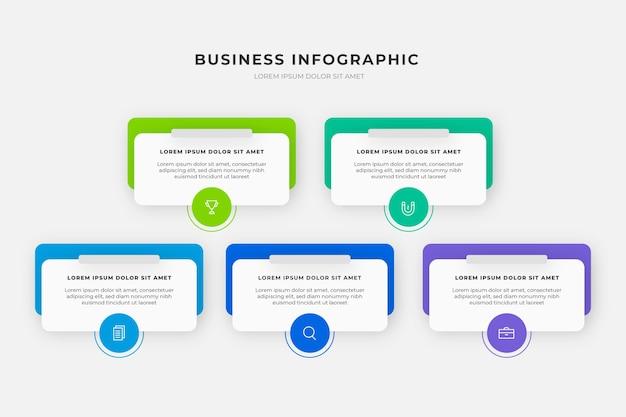 Geschäftsinfografiken mit farbverlauf Premium Vektoren
