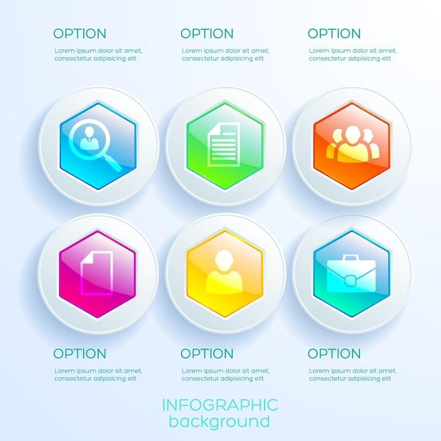 Geschäftsinfografiken mit sechs optionen bunte glänzende sechsecke in kreisen und symbolen isoliert Premium Vektoren