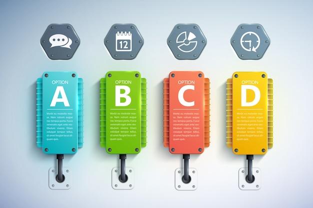 Geschäftsinfografikkonzept mit bunten kühlelementtext vier optionen und symbolen Premium Vektoren