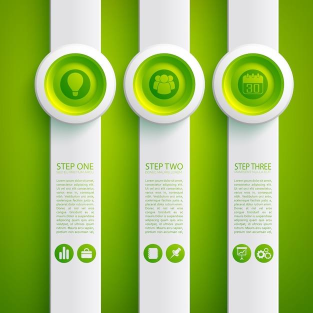 Geschäftsinfografikkonzept mit symbolen drei graue vertikale formen und runde knöpfe Kostenlosen Vektoren
