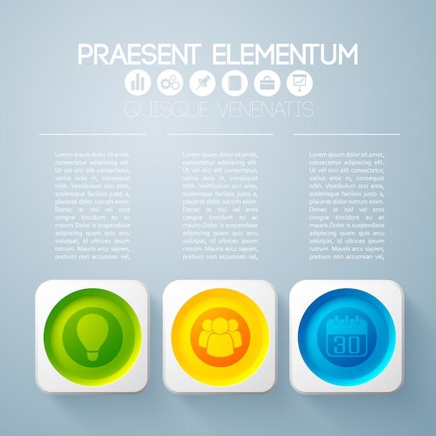 Geschäftsinfografikkonzept mit text und drei bunten runden knöpfen in den quadratischen rahmen und in den symbolen Kostenlosen Vektoren