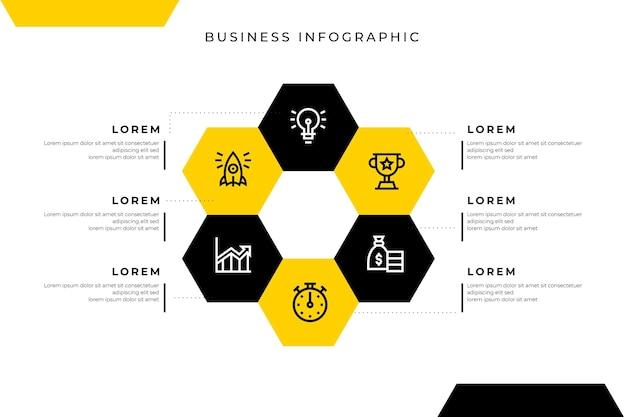 Geschäftsinfografikschablone mit wabe Kostenlosen Vektoren
