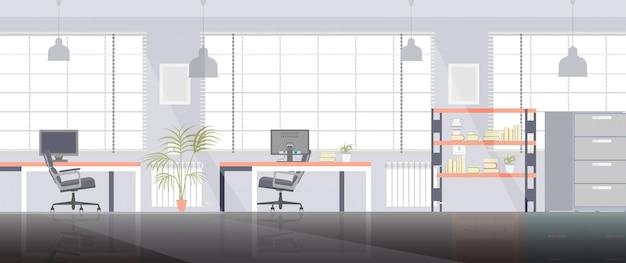 Geschäftsinnenillustration des büroraumraumarbeitsvektors flache mit stuhl und computer. Premium Vektoren