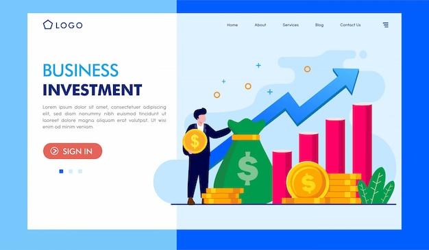 Geschäftsinvestitionslandungsseiten-illustrations-schablone Premium Vektoren