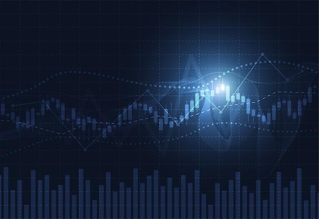 Geschäftskerzenstock-diagrammdiagramm der aktienmarktanlage Premium Vektoren