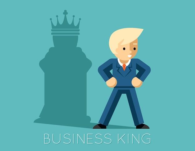 Geschäftskönig. geschäftsmann mit schatten als schachkönig. mannführer, erfolgschef, menschliches ego. Kostenlosen Vektoren