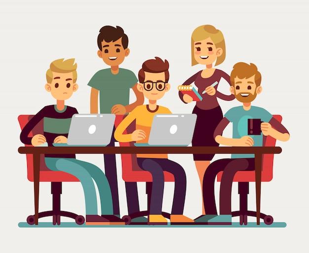 Geschäftskollegen, die bei der konferenz sich treffen. berufsleute lokalisierten vektorteamwork-konzept. bürositzung, teamgeschäft und teamwork-konferenzillustration Premium Vektoren