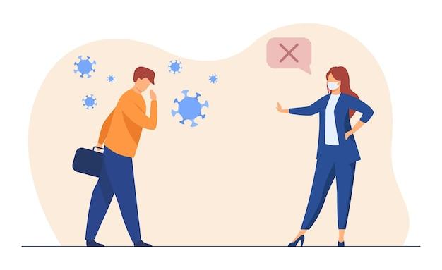 Geschäftskollegen halten soziale distanz. covid infizierte person, treffen in maske. karikaturillustration Kostenlosen Vektoren