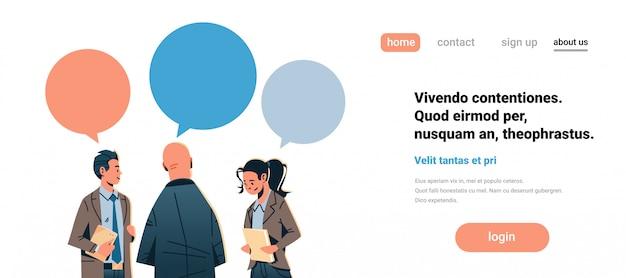 Geschäftskommunikation banner Premium Vektoren