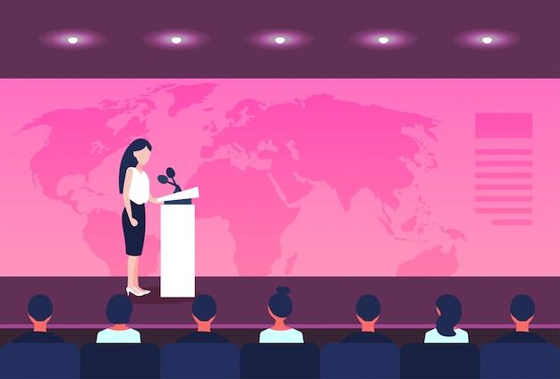 Geschäftskonferenzgeschäftsfraupolitiker, der von der tribüne über weltkartesprecher spricht Premium Vektoren