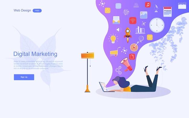 Geschäftskonzept für digitales marketing. Premium Vektoren