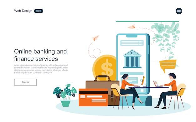 Geschäftskonzept für online-banking Premium Vektoren