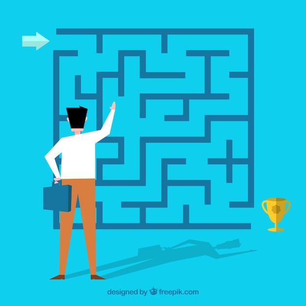 Geschäftskonzept mit flachem labyrinth Kostenlosen Vektoren