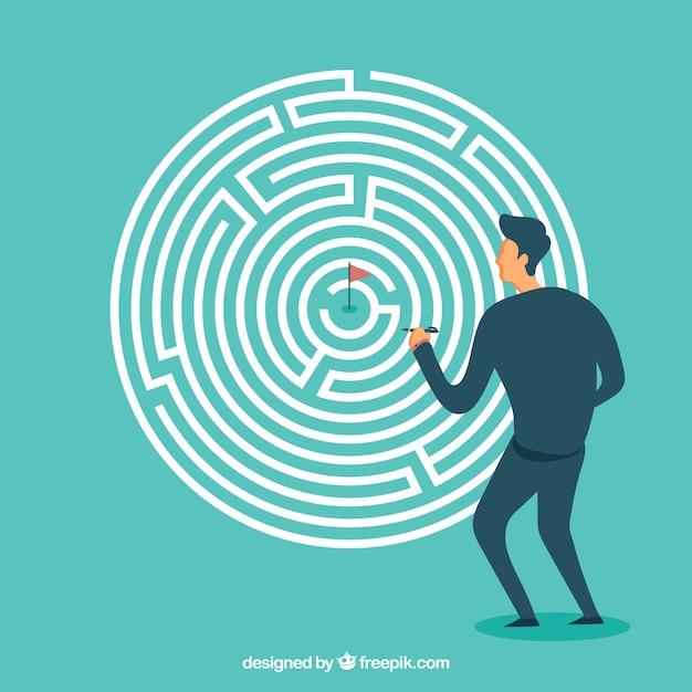 Geschäftskonzept mit flachem labyrinth Premium Vektoren