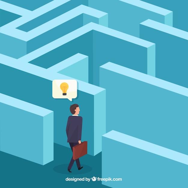 Geschäftskonzept mit isometrischer ansicht des labyrinths Kostenlosen Vektoren