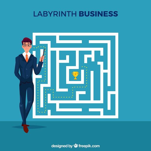 Geschäftskonzept mit labyrinth und geschäftsmann Kostenlosen Vektoren