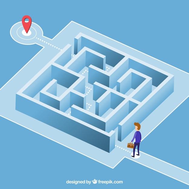 Geschäftskonzept mit quadratischem labyrinth Premium Vektoren