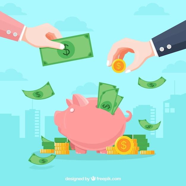 Geschäftskonzepthintergrund mit geld Kostenlosen Vektoren