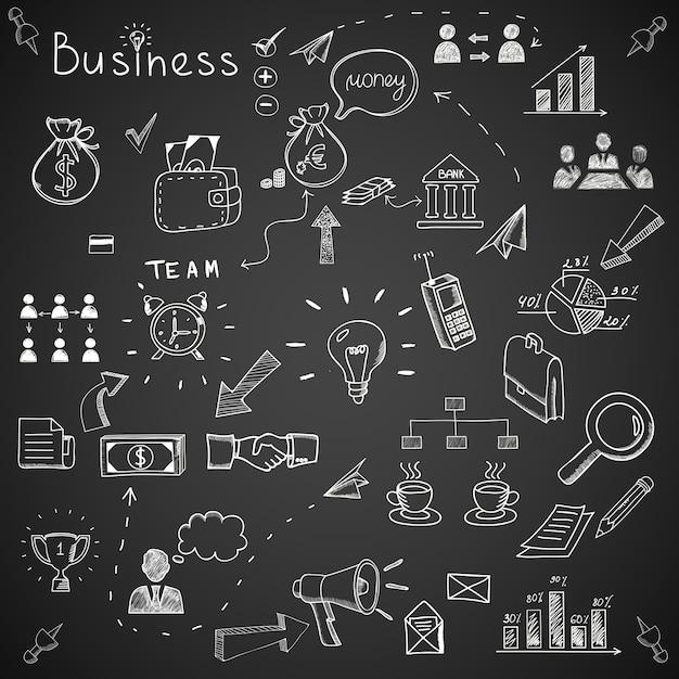 Geschäftskritzeleien an der tafel. Kostenlosen Vektoren
