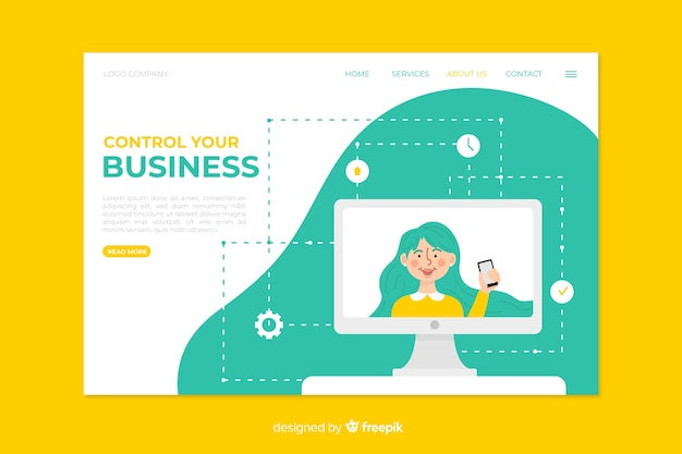Geschäftslandungsseitendesign für schablone Kostenlosen Vektoren