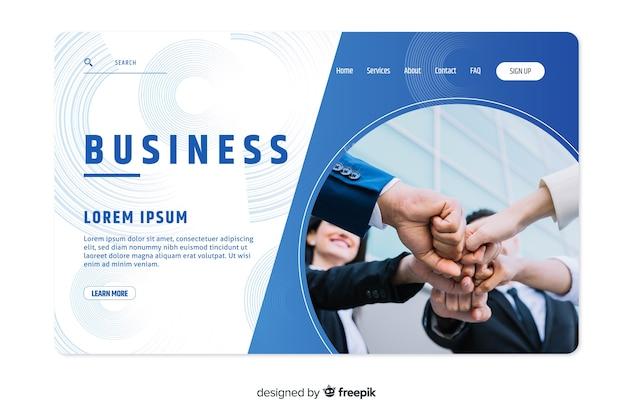 Geschäftslandungsseitenschablone mit foto Kostenlosen Vektoren
