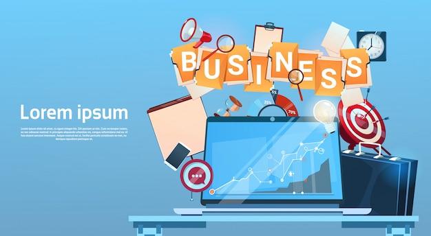 Geschäftsleben-konzept-marketing-teamwork-dokument und -ziel Premium Vektoren