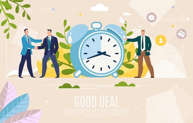 Geschäftsleiter-gutes abkommen-flache vektor-netz-fahne Premium Vektoren