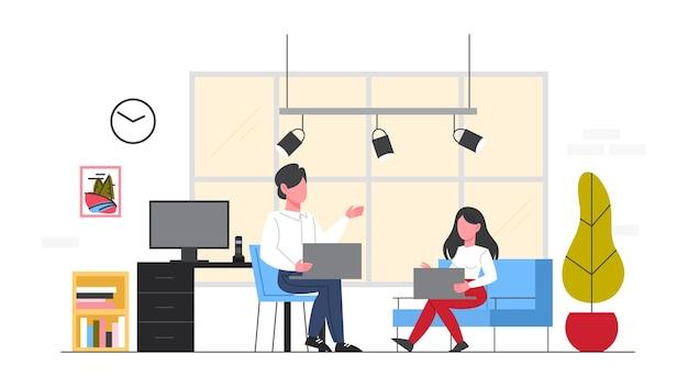 Geschäftsleute an ihrem arbeitsplatz. frau und mann sitzen auf dem stuhl und arbeiten am computer am schreibtisch im büro. büroausstattung. illustration Premium Vektoren