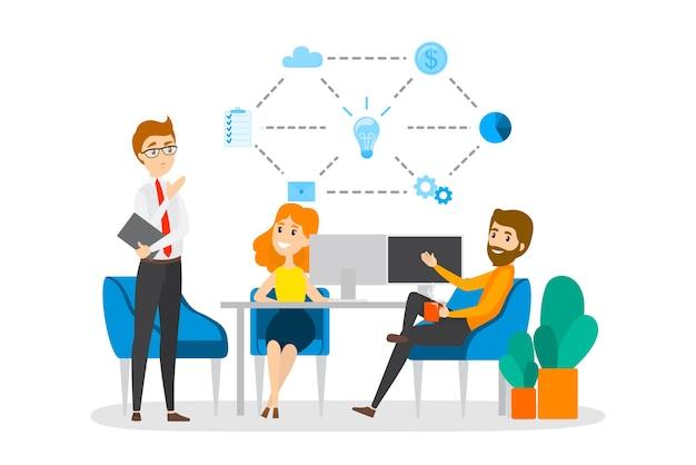 Geschäftsleute arbeiten im team, im brainstrom und auf dem weg zu wachstum und erfolg zusammen. partnerschaft und zusammenarbeit. büroangestellte diskutieren unternehmensstrategie. eben Premium Vektoren