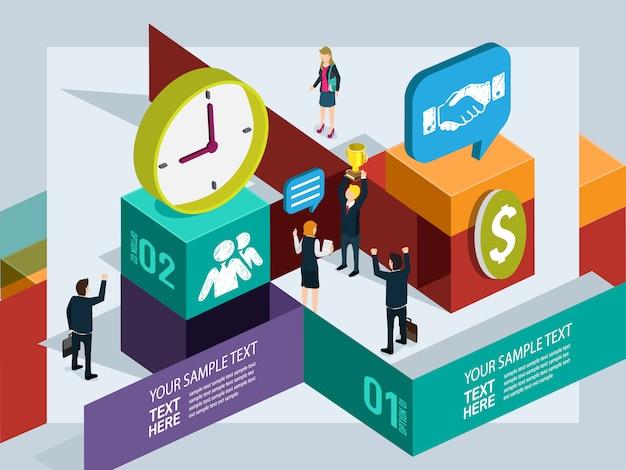 Geschäftsleute arbeiten mit info-grafikkonzept Premium Vektoren