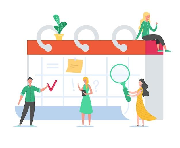 Geschäftsleute arbeiten nach zeitplan. winzige charaktere, die arbeitsprojekt auf schreibtischkalender planen. erinnerung, zeitplankonzept. mann und frau arbeiten zusammen. Premium Vektoren