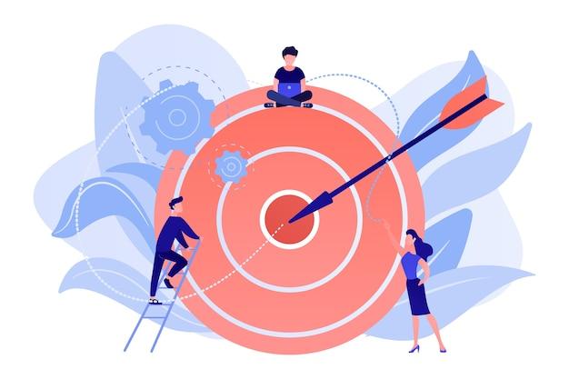 Geschäftsleute arbeiten und frau am großen ziel mit pfeil. ziele und vorgaben, geschäftswachstum und -plan, zielsetzungskonzept auf weißem hintergrund. Kostenlosen Vektoren