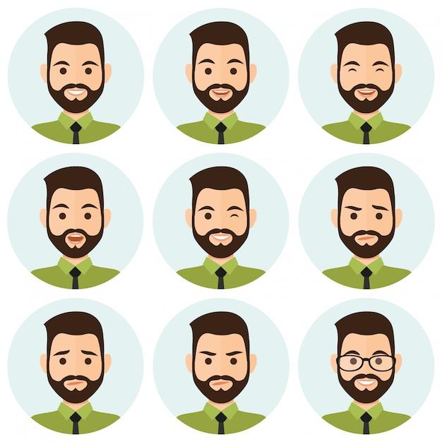 Geschäftsleute ausdruck avatar Premium Vektoren