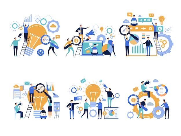 Geschäftsleute. bürovorsteher, die kreative werbecharaktere des digitalen marketings der verschiedenen produkte fördern und ankündigen Premium Vektoren