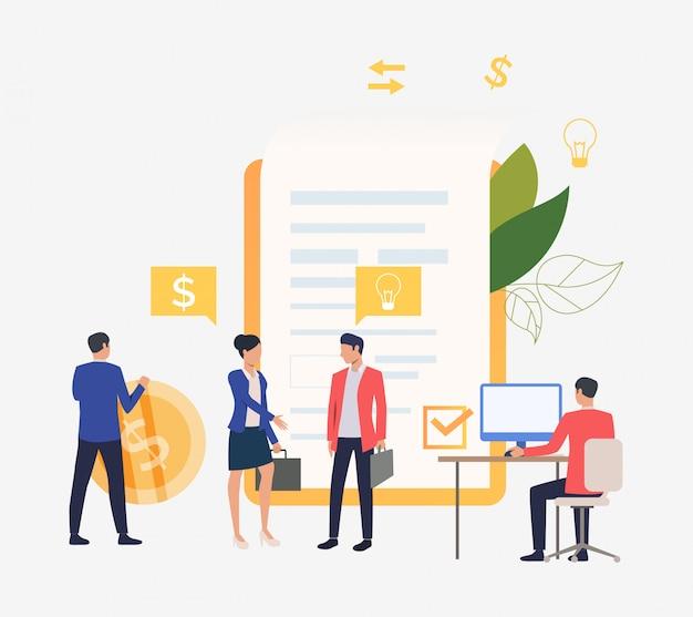 Geschäftsleute, die an computer arbeiten und vertrag abschließen Kostenlosen Vektoren