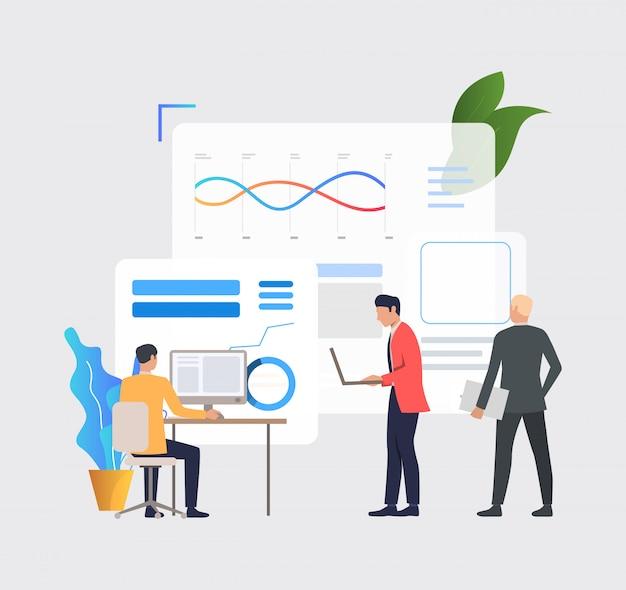 Geschäftsleute, die an computern arbeiten und finanzdiagramme analysieren Kostenlosen Vektoren