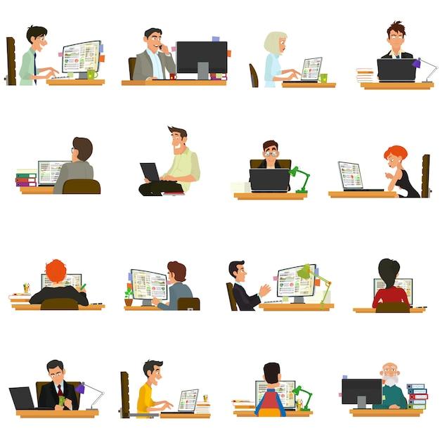 Geschäftsleute, die an computern und laptops arbeiten. geschäftsfrau, die für einen laptop arbeitet. leute, die am tisch sitzen und arbeiten. Premium Vektoren