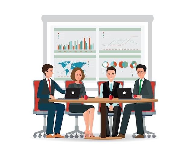 Geschäftsleute, die an einem großen konferenztisch sich treffen. Premium Vektoren